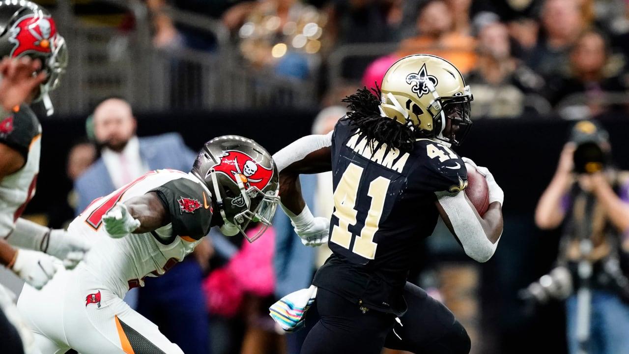 New Orleans Saints running back Alvin Kamara takes in his ...