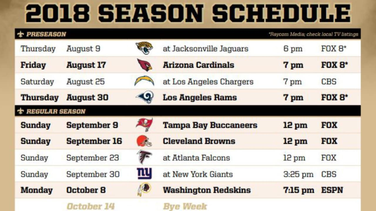 graphic about Nfl Week 13 Printable Schedule identified as Saints 2018-19 Timetable Breakdown