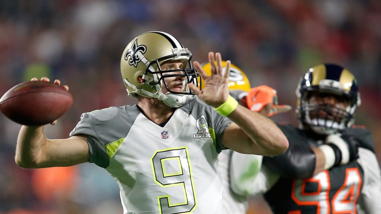 official photos ff423 ccee9 Drew Brees to Greg Olsen TD in 2015 Pro Bowl