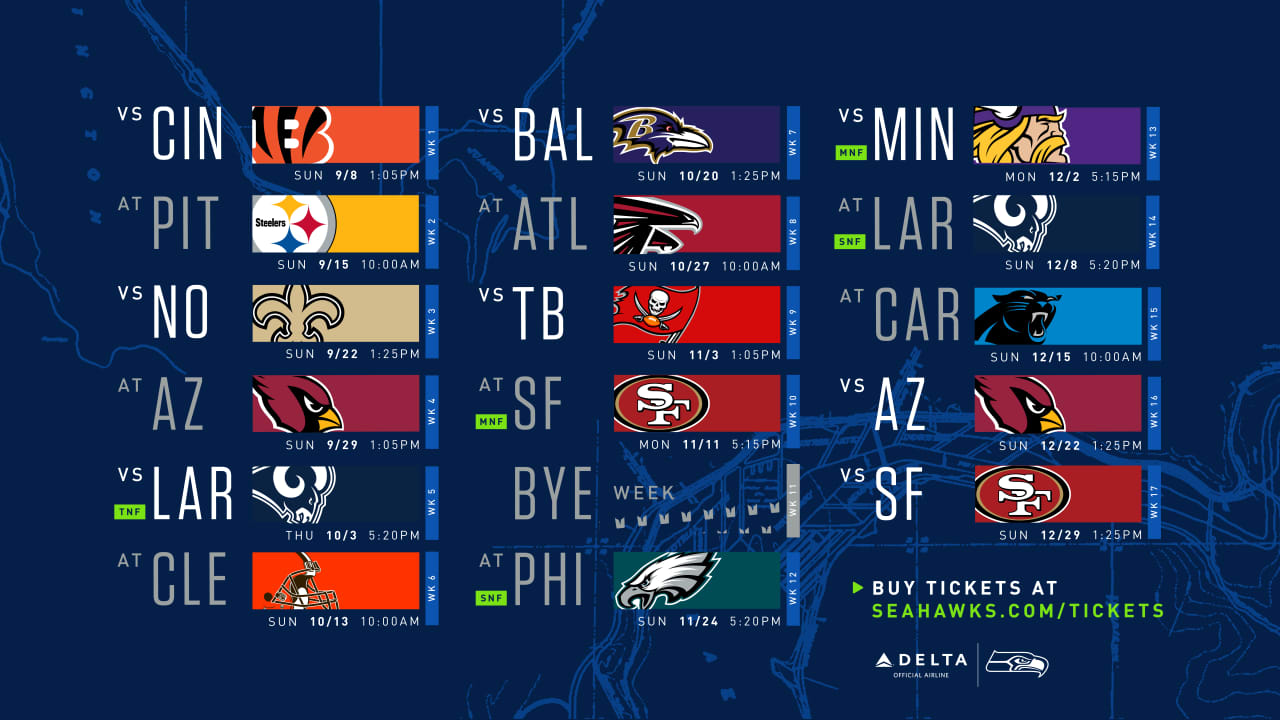 49ers Home Schedule 2020.Seattle Seahawks 2019 Schedule Announced Includes Five