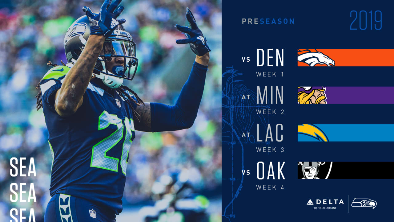 image relating to Nfl Week 7 Printable Schedules titled Seahawks 2019 Preseason Timetable