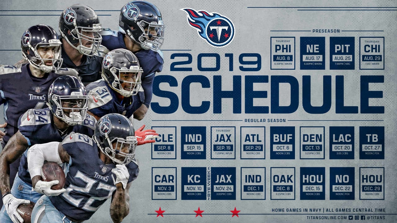 graphic regarding Buffalo Bills Printable Schedule known as Titans Launch 2019 Program