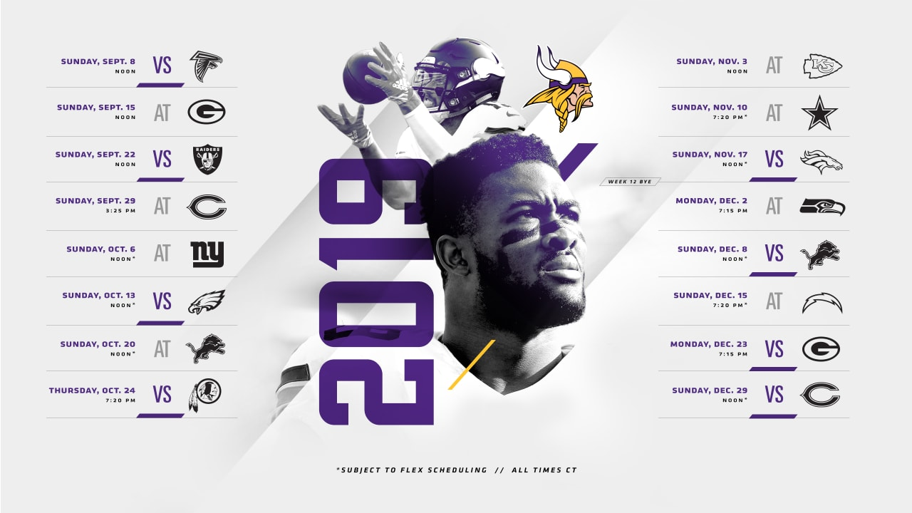 graphic regarding Green Bay Packers Printable Schedule identified as Minnesota Vikings 2019 Routine Introduced
