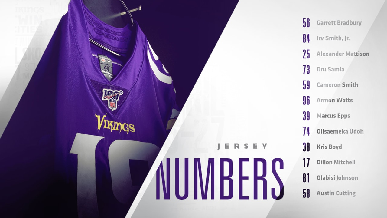 the latest 8cef0 bb6a8 Vikings Announce 2019 Draft Picks' Jersey Numbers