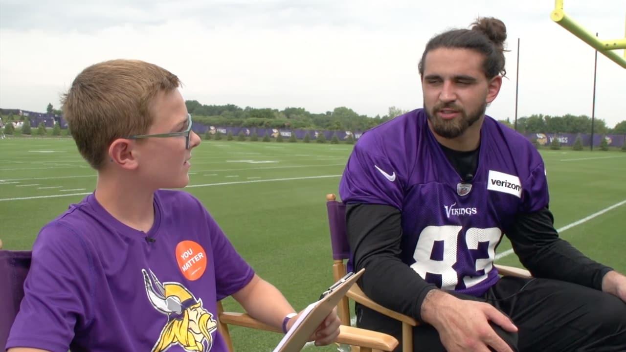 huge discount a5465 82d45 Vikings Junior Reporter Interviews Tight End Tyler Conklin