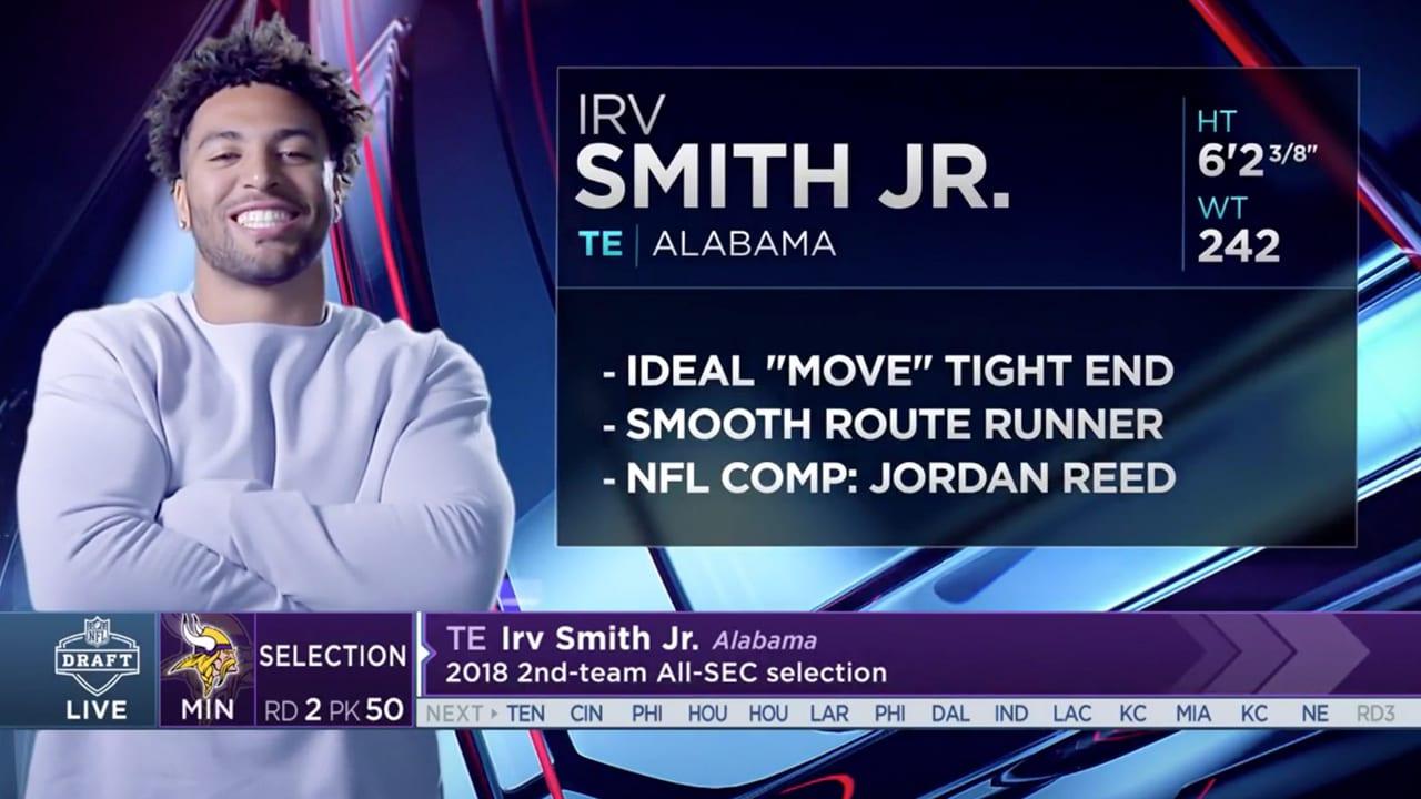 d5740e6da Vikings Select Alabama TE Irv Smith Jr. In Round 2 of the 2019 NFL Draft
