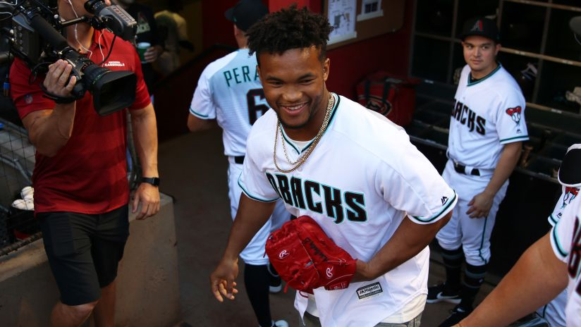 competitive price 55b83 c3109 Kyler Murray The Football Player Makes His Pitch At D-Backs Game