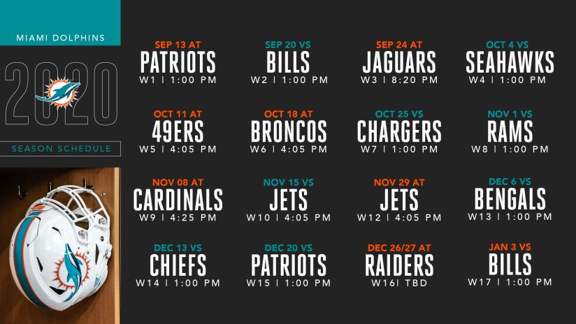 2020 Miami Dolphins Schedule: Complete schedule and match up