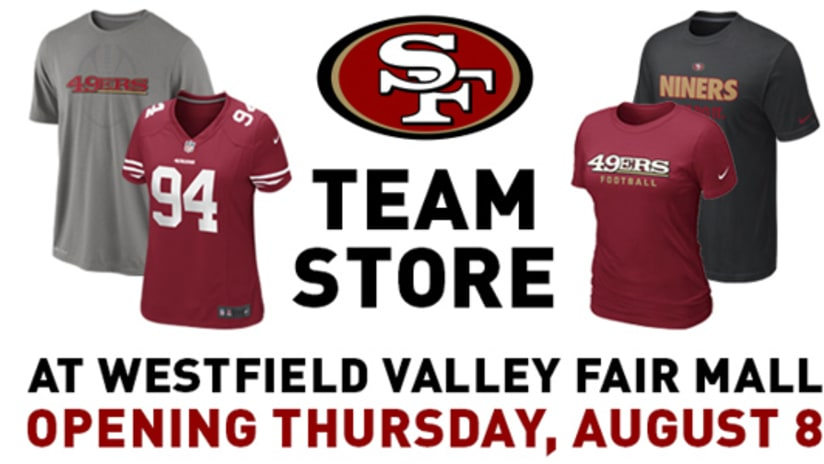 32403b3aa1b The 49ers announced the opening of a new 49ers Team Store location at Westfield  Valley Fair in Silicon Valley on Thursday