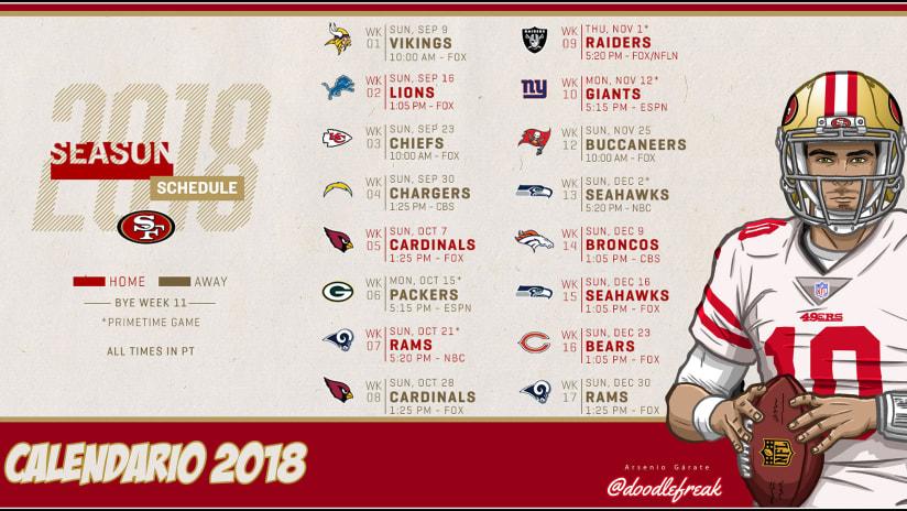 Calendario 49ers Para La Temporada 2018