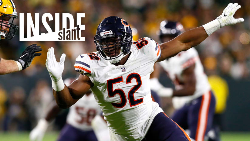 176399411 It took newly acquired Bears linebacker Khalil Mack just 83 seconds to  introduce himself to Bears faithful on Sunday night — and then he  reintroduced ...