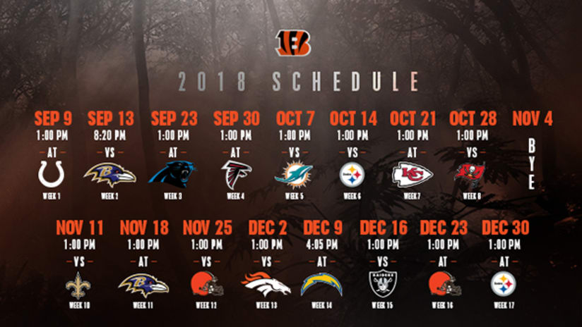 Cincinnati Bengals Schedule 2019 Bengals 2018 Regular Season Schedule