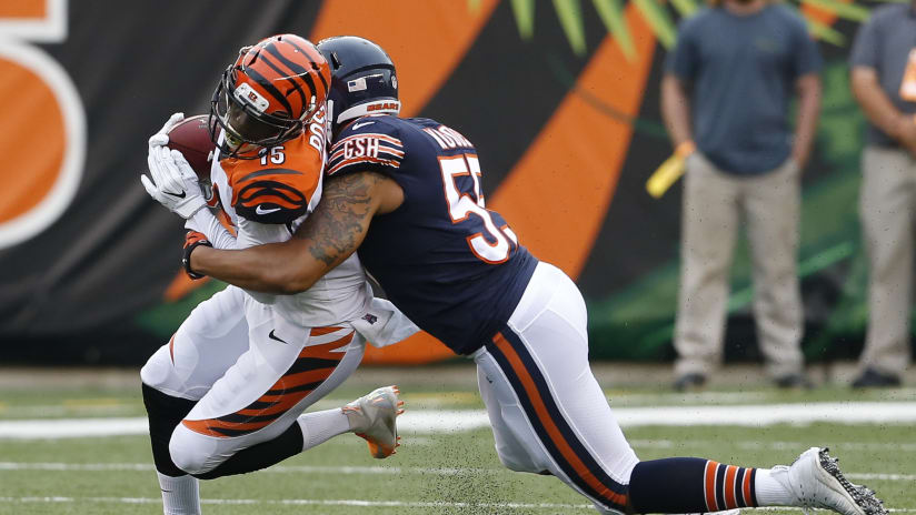 28cde7845 Cincinnati Bengals wide receiver John Ross (15) is tackled by Chicago Bears  linebacker Josh