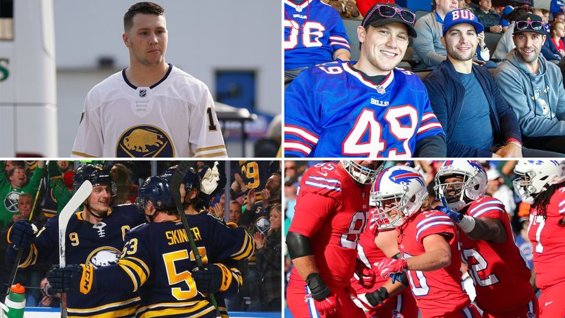 Josh Allen (top left), Jeff Skinner, Conor Sheary and Carter Hutton (top right), Jack Eichel and Jeff Skinner (bottom left) and Cole Beasley (bottom right).