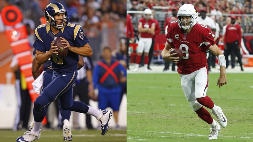 a33b23bbf01 Quarterback Sam Bradford (left) in his final game with the Rams, a  preseason. Photos by Associated Press