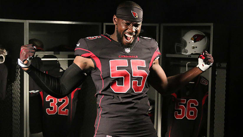 Cardinals linebacker Chandler Jones models the team s Color Rush uniforms. 4e03f76e3