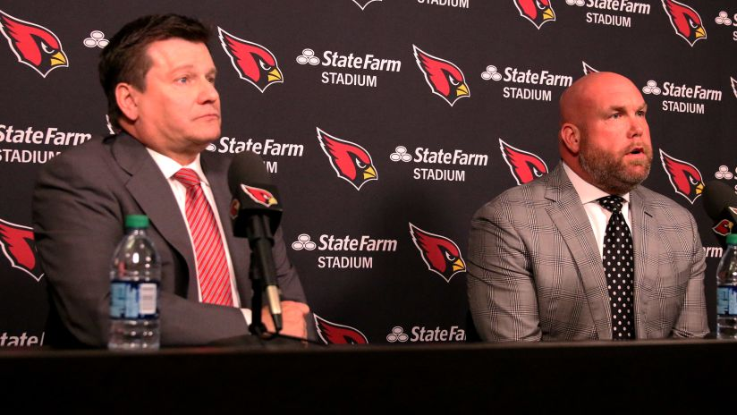 f1ba37343a7 Cardinals president Michael Bidwill (left) and General Manager Steve Keim  talk to the media