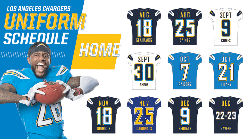 4cad84bc1 Chargers Announce 2018 Uniform Schedule