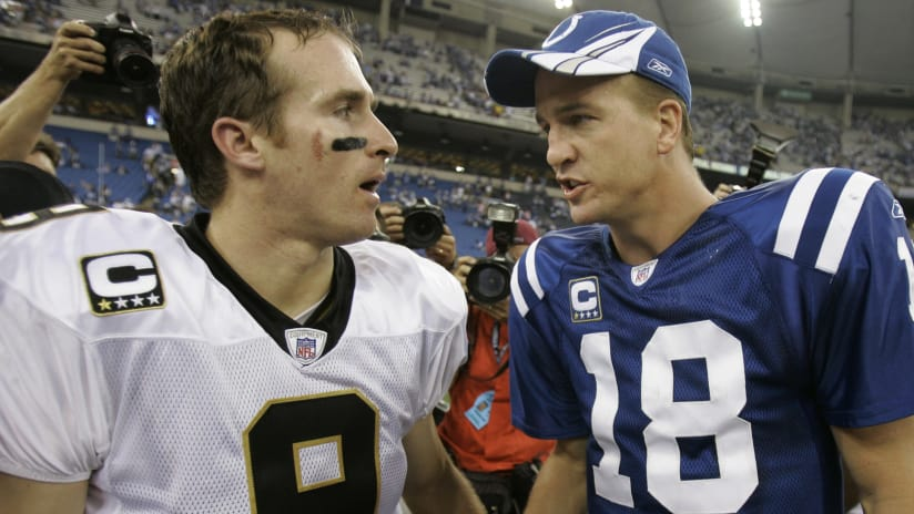 Peyton manning congratulates drew brees for breaking his career indianapolis colts quarterback peyton manning right and new orleans saints quarterback drew brees meet m4hsunfo