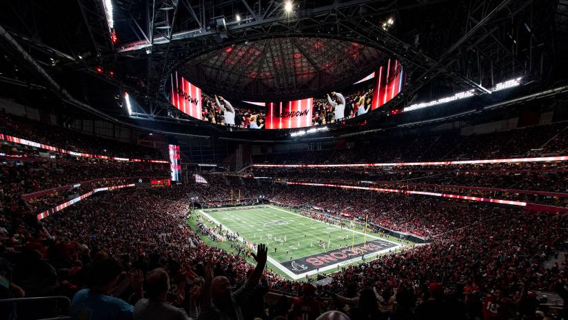 Fans cheer during the game between the Atlanta Falcons and the New Orleans Saints at Mercedes-Benz Stadium in Atlanta, GA, on Thursday November 28, 2019. (Photo by Kyle Hess/Atlanta Falcons)