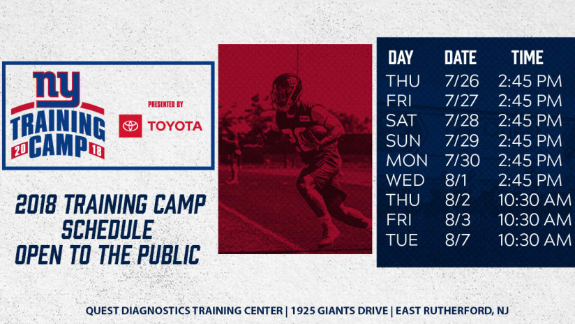 3c7a473b0 Giants Training Camp Schedule and Ticket Information