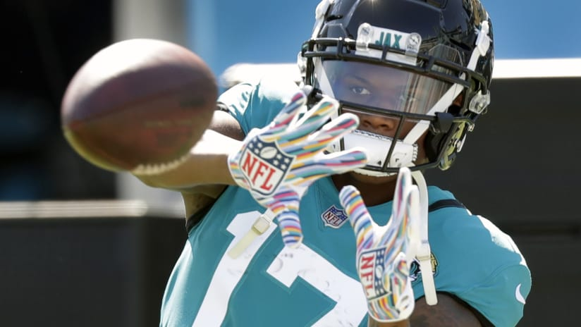 Jacksonville Jaguars wide receiver D.J. Chark catches a pass during warm up  before an NFL football 87f3ededb