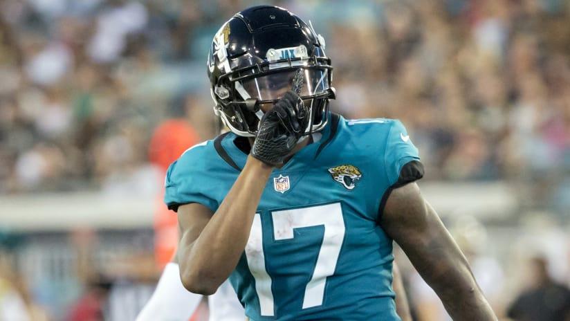Jacksonville Jaguars wide receiver D.J. Chark (17) celebrates a tackle on a  punt return d1f945044