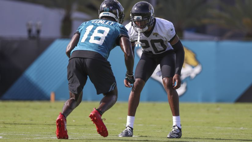 5d906cbf Jacksonville Jaguars cornerback Jalen Ramsey (20) and wide receiver Chris  Conley (18)
