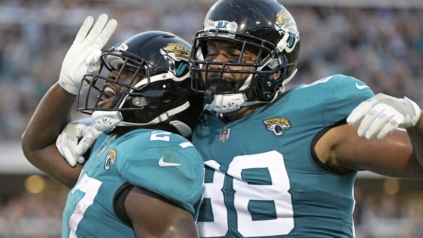 High Quality Jacksonville Jaguars Running Back Leonard Fournette, Left, Celebrates With  Tight End Austin Seferian