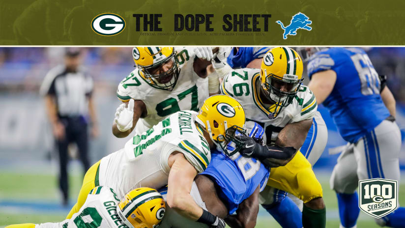 fb7c025cf Packers travel to Detroit to face the Lions. 181002-dope-sheet-2560