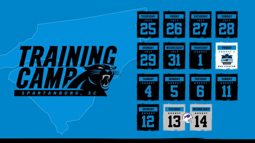 graphic regarding Printable One Page Nfl Schedule called Panthers announce 2019 working out camp program
