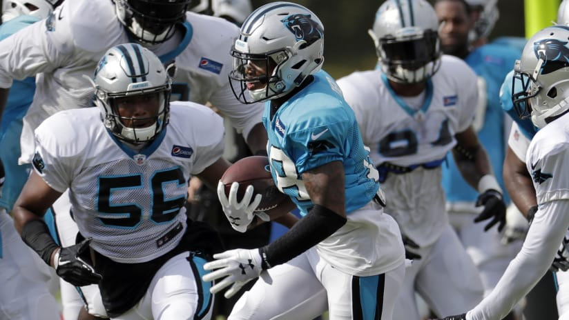 9d1d438e1 Carolina Panthers' Damiere Byrd, center, runs after a catch during an NFL  football