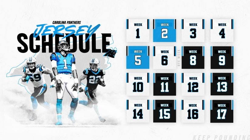 Carolina Panthers Schedule 2020.Panthers Reveal 2019 Jersey Schedule