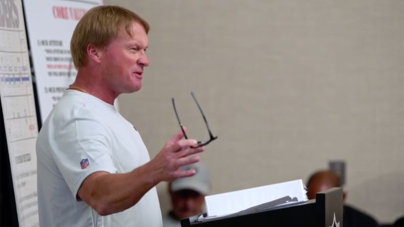 Hard Knocks: Coach Gruden brings the heat in first team meeting