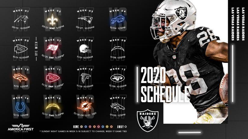 Las Vegas Raiders announce inaugural 2020 Schedule