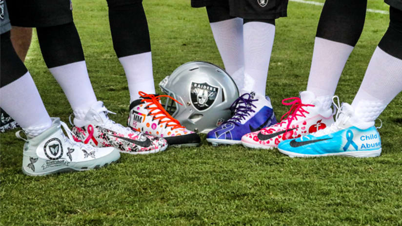 23f8c1d6f The Oakland Raiders are joining with players across the NFL to wear custom  cleats reflecting their commitment to charitable causes during this  Sunday s ...