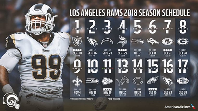 1d7d6eb7151 LOS ANGELES – The defending NFC West Champion Los Angeles Rams will be  featured in five primetime games for the first time in the team's history,  ...