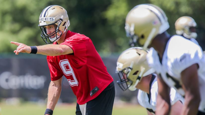 5755ddba27c Saints quarterback Drew Brees meets with the media after the Saints first  week of 2019 OTAs
