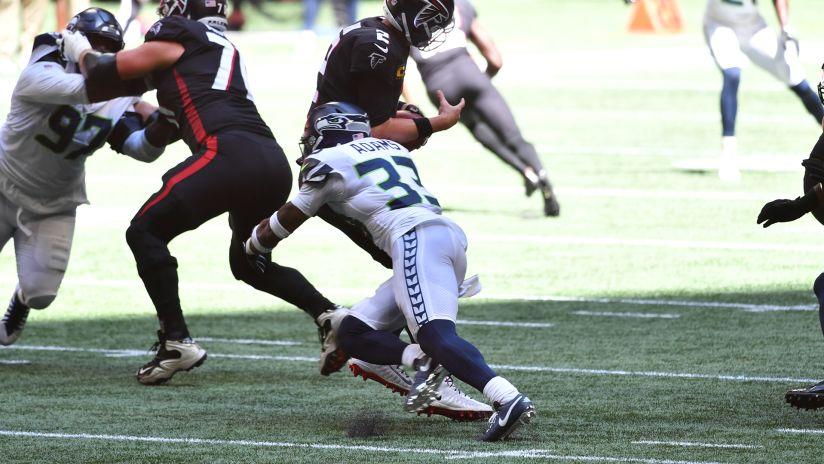 Seahawks S Jamal Adams blitzes off the edge to sack Falcons QB Ryan on third down