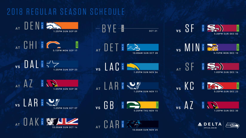 68dd238716e The NFL announced the 2018 schedule on Thursday, and the Seattle Seahawks  will open at Denver on September 9. Seattle is scheduled to play five  prime-time ...