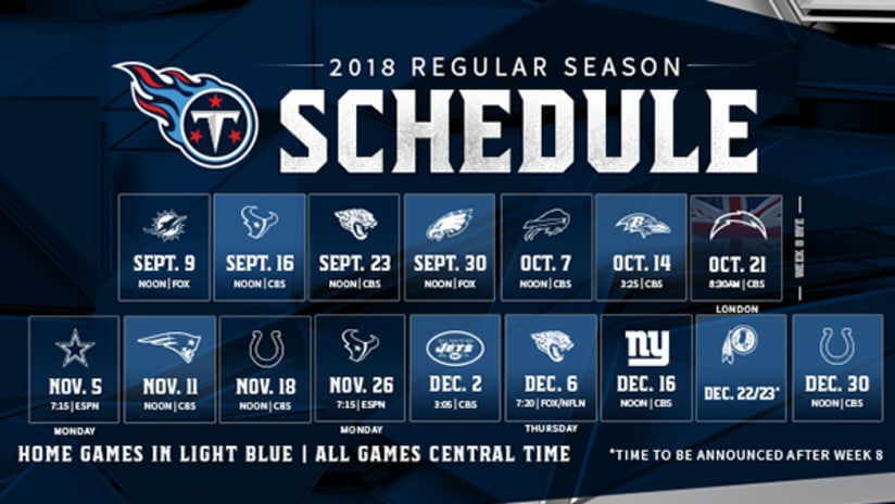 Titans 2018 Schedule Includes Three Primetime Contests