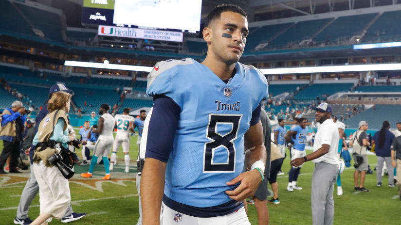 "cf53fe7d Injured Titans QB Marcus Mariota Makes No Excuses After ""Long Day"""