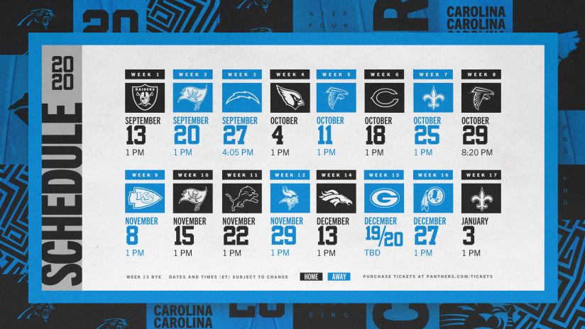 2020 Panthers Schedule Complete Schedule Match Up Information For 2020 Nfl Season