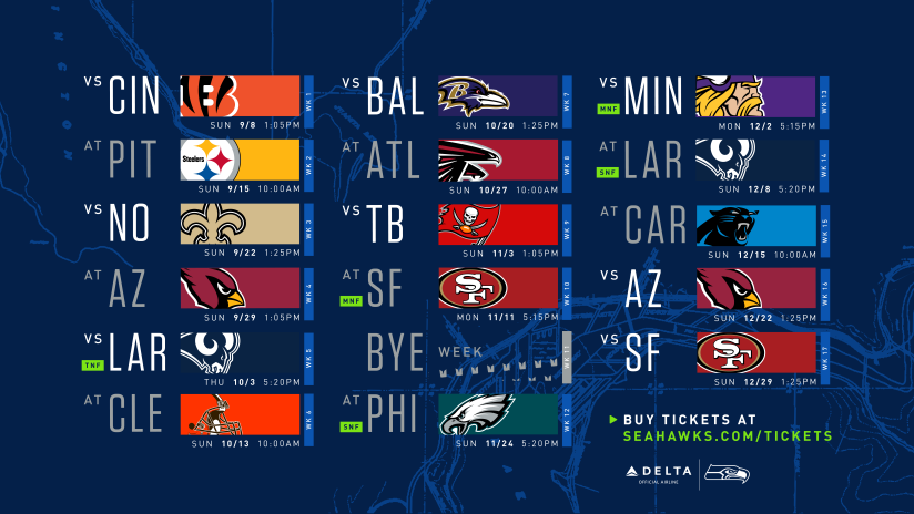 picture relating to Nfl Week 13 Printable Schedule identified as Seattle Seahawks 2019 Agenda Introduced, Incorporates 5