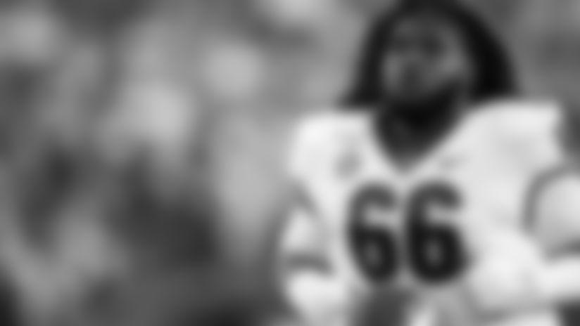 Georgia Bulldogs offensive lineman Solomon Kindley (66) runs on the field before the game against the Vanderbilt Commodores during an NCAA football game on Saturday, Aug. 31, 2019 in Nashville, Tenn. (AP Photo/Brett Carlsen)