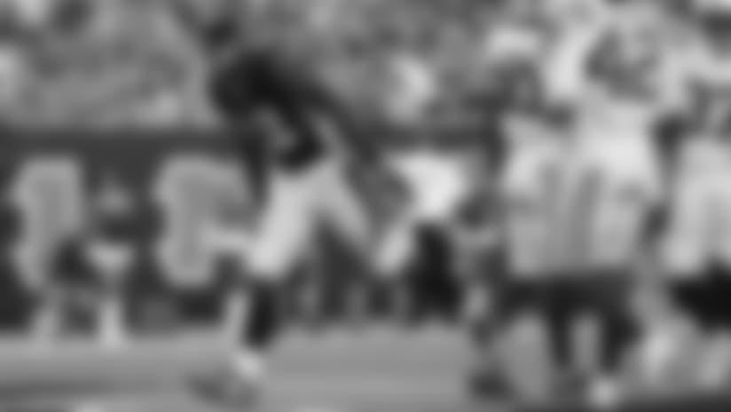 HB Mark Walton celebrates scoring a touchdown in the final preseason game of 2018.