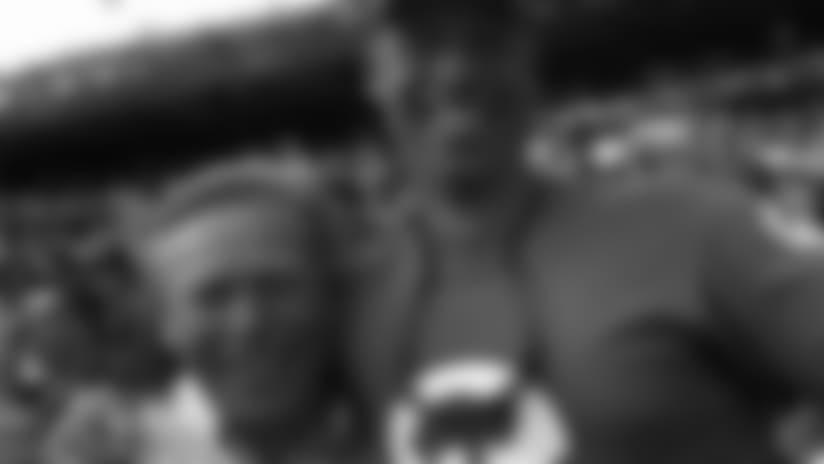 "Season Ticket Member of the Game John Nussbaumer (left) and his son, John ""Josh"" Nussbaumer (right)."