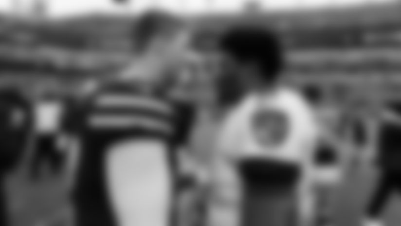 Buffalo Bills quarterback Josh Allen (17) and Baltimore Ravens quarterback Lamar Jackson (8) after an NFL regular season football game on Sunday, Sept. 9, 2018 in Baltimore. The Ravens won, 47-3. (Ric Tapia via AP)