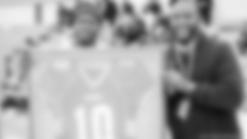 Bills cornerback Tre'Davious White visits Green Oaks High School in Shreveport, Louisiana, where his jersey No. 10 was retired.
