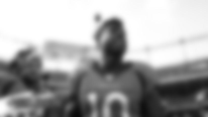 Emmanuel Sanders before the Broncos' preseason game against the San Francisco 49ers on August 19, 2019 at Broncos Stadium at Mile High in Denver, Colorado. (Photo by Gabriel Christus)